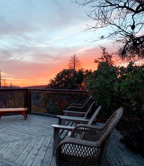 Evergreen Lodge Yosemite sunset deck