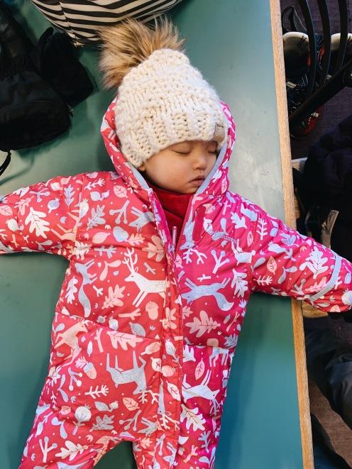 mt. norquay ski resort sleeping baby