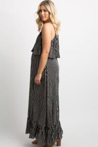 pinkblush Black Striped Ruffle Trim Maternity Maxi Dress clothing review