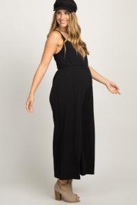 pinkblush Black Striped Ruffle Trim Maternity Maxi Dress
